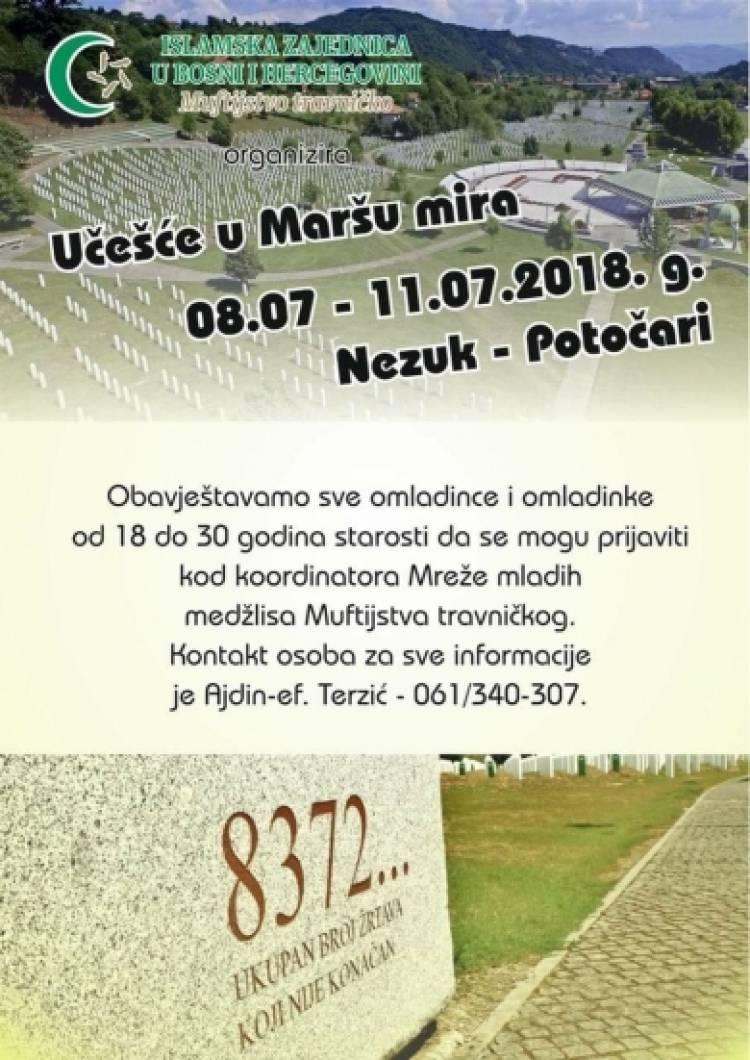 """MREŽA MLADIH MUFTIJSTVA TRAVNIČKOG ORGANIZUJE ODLAZAK NA """"MARŠ MIRA 2018"""""""